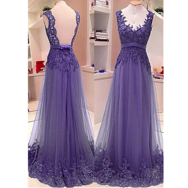 90ef72795d5 Delicate Lace Lavender Prom Dresses Long Tulle Evening Party Dresses Scoop  Neckline Beaded Applique Backless Formal Gowns 2019