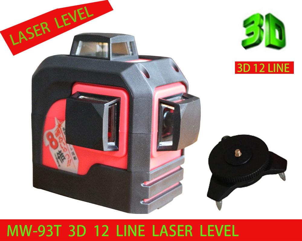 2018 Новый 3D 12 Красные линии, MW-93T 3D 12 линий лазерный уровень, наливные 360 по горизонтали, вертикальный крест супер мощный