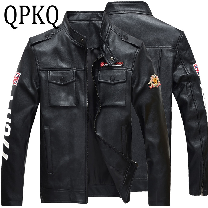 2017 Mens Brand Leather Military Jacket Men Jaqueta Print 77 City Masculina Mens Pattern Jackets Zip Leather Coats Plus Size 4XL