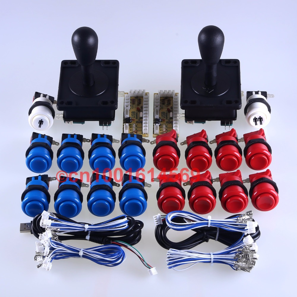 цена Arcade Games Handle Gamepads USB Encoder + Joystick + 18 x Arcade Button To Raspberry PI Retropie Project -Blue + Red Color Kits в интернет-магазинах