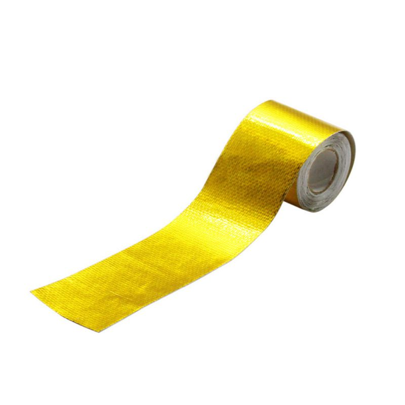 5m*5cm Fiberglass Heat Reflective Tape Gold High Temperature Heat And Sound Shield Wrap Roll Adhesive Car Styling