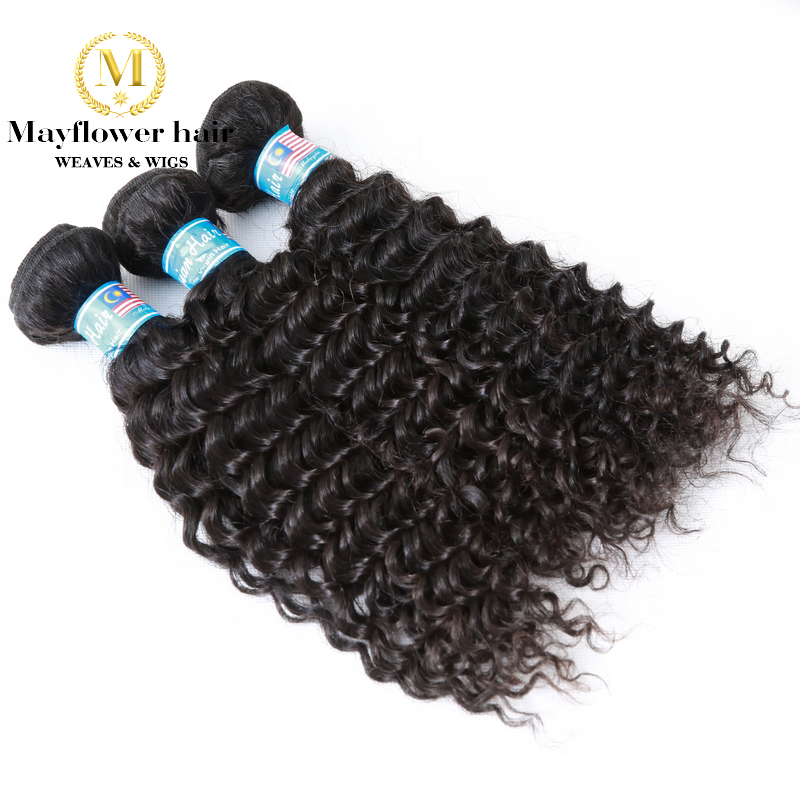 Mayflower 3 Pcs Virgin Malaysian curly hair with 13x4 ear to ear lace frontal All Natural black Unprocessed hair mixed length