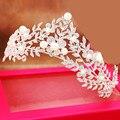2016 Мода роскошный горный хрусталь кристалл диадемы женщины серебряные листья перл головные уборы королева корона свадебные аксессуары для волос