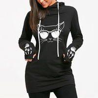 2017 Autumn Fashion Women Cat Printed Hoodie Sweatshirts Casual Long Loose Hoody Tops Pullover Sweatshirts Femme