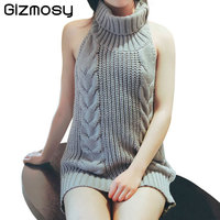 Sweater For Women Turtleneck Sleeveless Summer Virgin Killer Pullovers Japanes Knitted Sexy Backless Sweaters Pullovers BN1475