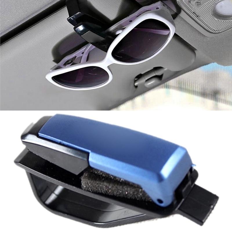 Durable Plastic Car Sun Visor Sunglasses Card Ticket Holder Clip Mount Eye Glasses Case Stowing Tidying Black/Blue/Silver