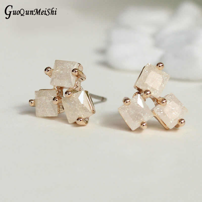 New Fashion Jewelry - Gold Color Plated Zirconia Geometric Stud Earrings Retail for Woman - Jewelry Accessories Wedding Party