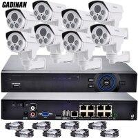 GADINAN 8CH CCTV System 48V POE NVR HDMI Output 8PCS 960P Waterproof 4X Zoom 2 8