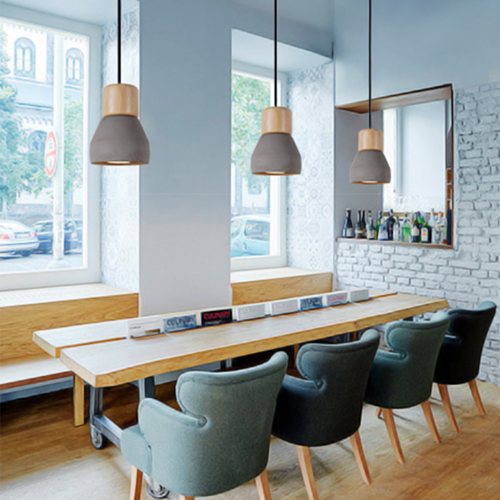 4 color brief Loft Nordic Style wood Cement stone chandelier modern ...