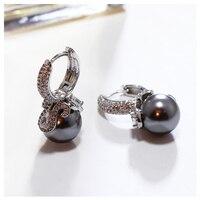 Mode chaude Femmes Boucles D'oreilles Simulé Gris Perle Rhodium Couleur avec Cubique Zircon Cristal Vintage Bijoux Cadeau Pour Dame