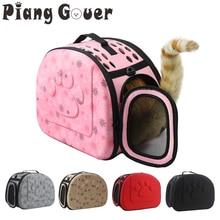 개 캐리어 가방 휴대용 고양이 핸드백 접이식 여행 애완 동물 가방 강아지 운반 메쉬 어깨 개 가방 S/M/L