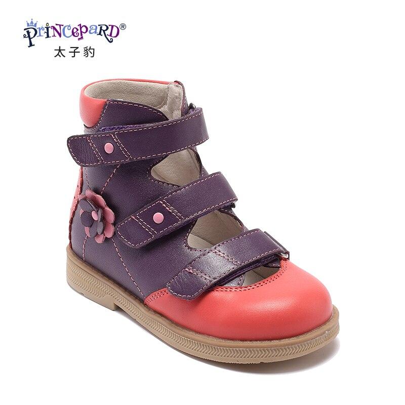 Princepard flambant neuf enfants chaussures d'été crochet boucle fermé orteil enfant en bas âge filles sandales orthopédique sport en cuir véritable bébé filles - 2