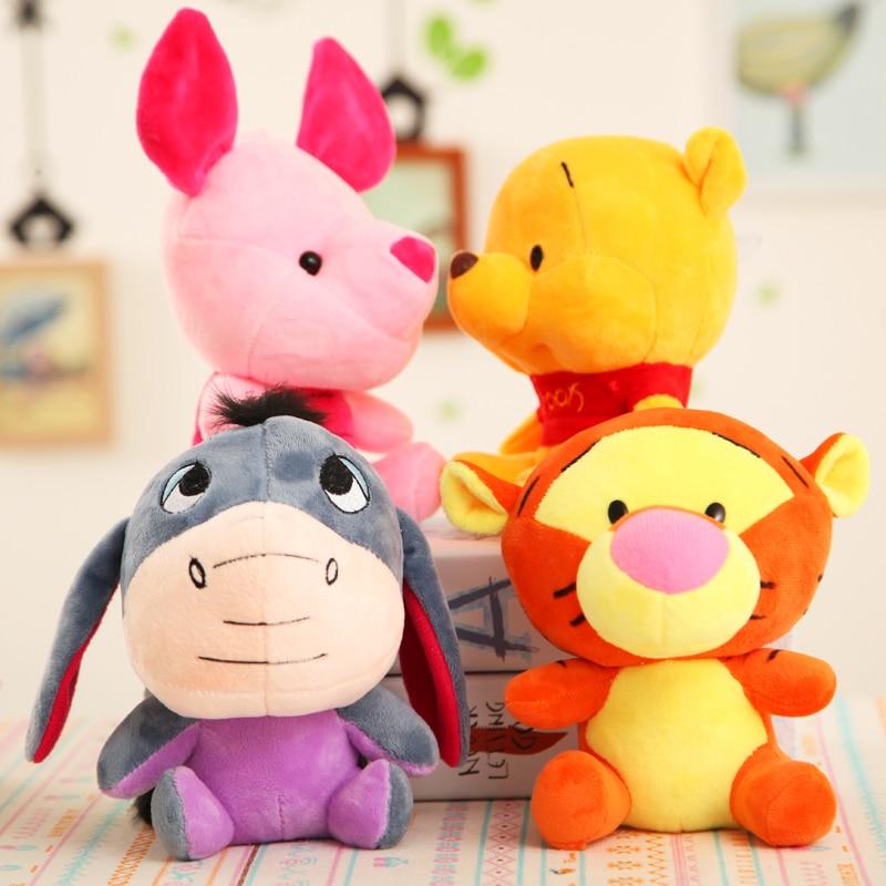 10cm Winnie Tigger Eeyore Piglet Stuffed Animals Plush Dolls Toys Small Pendant Cute Anime Cartoon Doll For Children Gift