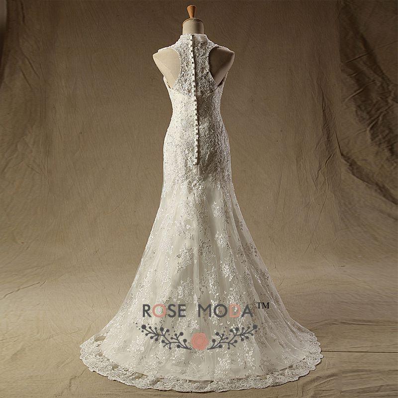 Rose Moda High Neck Lace Mermaid Wedding Dress Cut Out Back Wedding ...