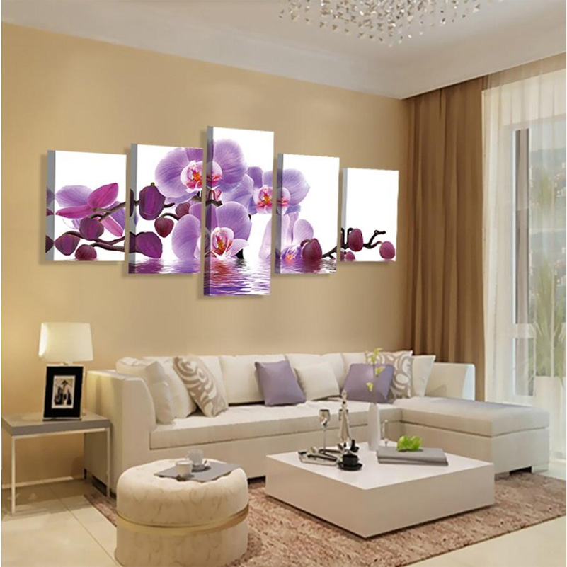 (no frame)wall art home decor purple butterfly wall pictures for living room modular picture paintings cuadros poster cuadros