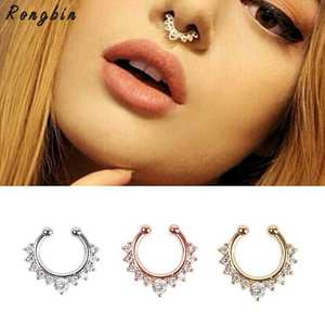 RONGBIN Alloy Hoop Nose Ring Fake Piercing Septum Clicker