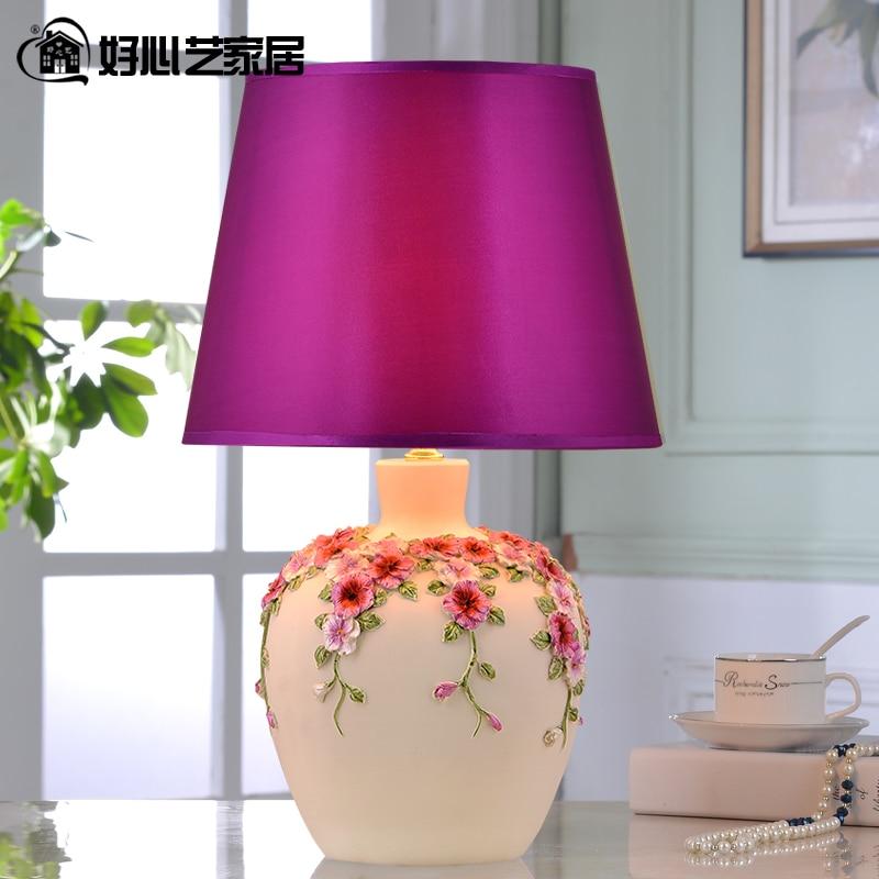 Hoshine 2016 New Arrival Novely Purple Pansy Flower Vase Table Lamp for Bedroom Home Decoration Lamparas de Mesa Bedside CCC CE