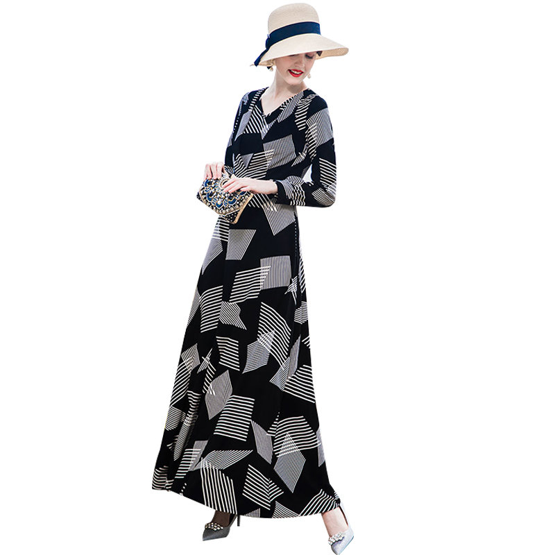 DF Trend Dress Quality Autumn Striped Black and White Evening Long Dress V Neck Plus Size Long Sleeves Night Maxi Dresses 9039