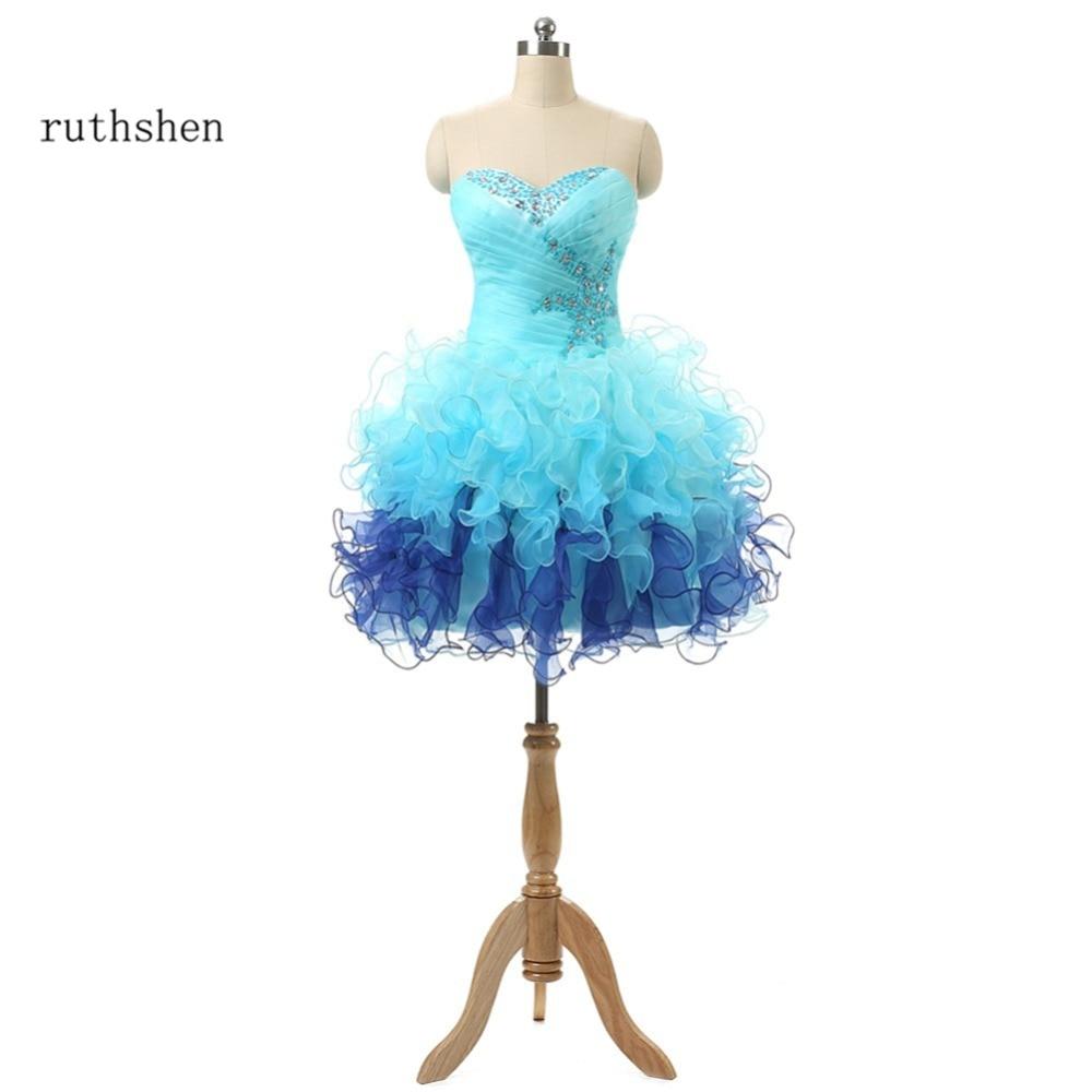 ruthshen Light Blue Cheap Homecoming Dress Real Photo Junior Teens Short Prom Dresses Ruffles Organza Graduation