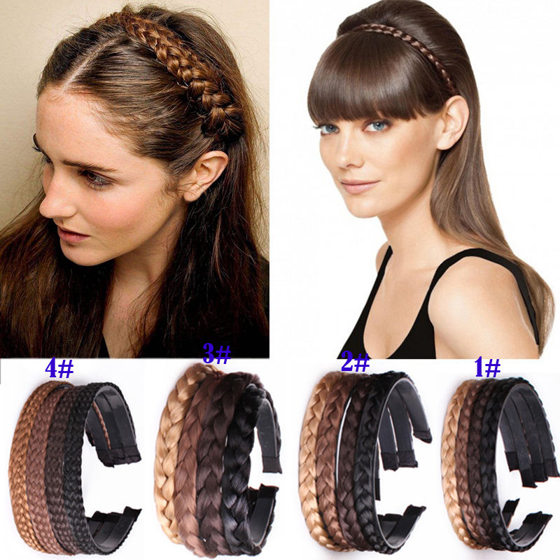Women Girls Vintage Headband Braids Hair Band   Headwear   Hair Wig Accessories