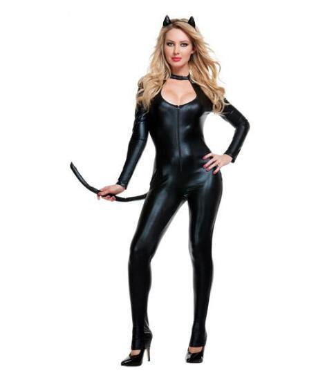 Deguisement Chat Halloween deguisement halloween sexy en cuir verni léopard chat fille siamois