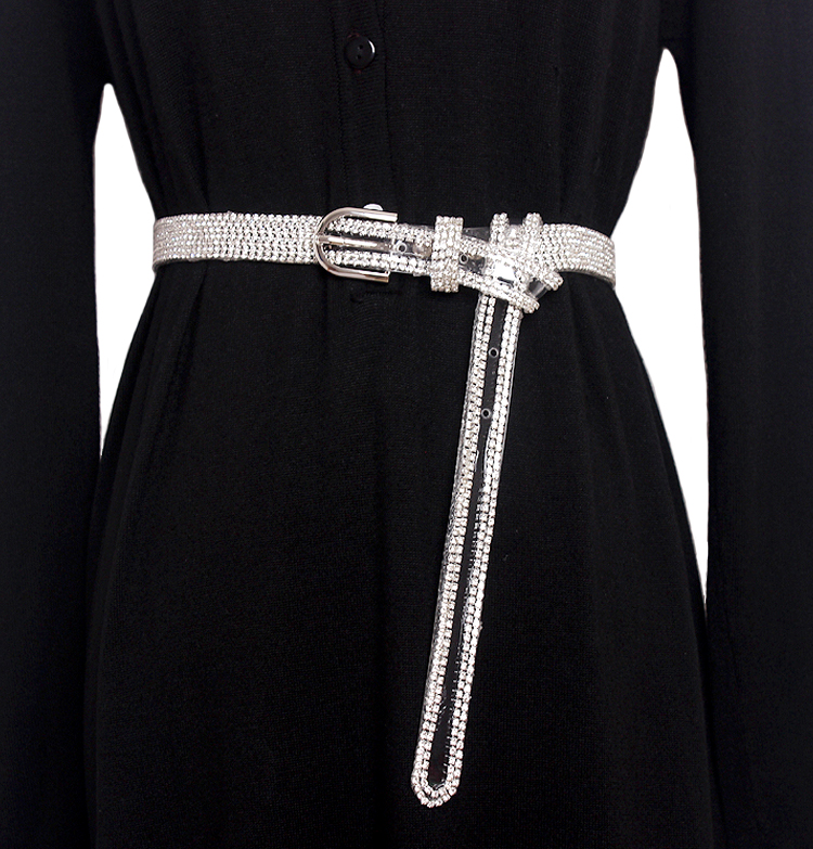Fashion Transparent Crystal   Belt     Belts   for Women 's Casual metal Buckle Leather Rhinestone Shiny long   Belt   Waist Wild Straps