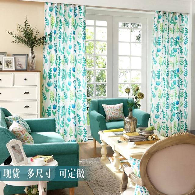 Cortina país Telas para sala azul listo cortinas casa rústica ...