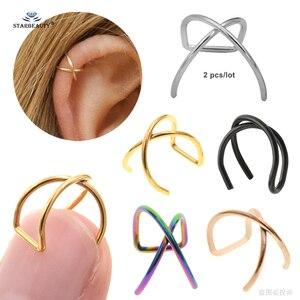 2 pcs 0.8/1.2x8mm X Cross Helix Piercing Earring Orelha Stainless Steel Helix Ring Lip Fake Piercing Ear Pircing Helix Earrings(China)