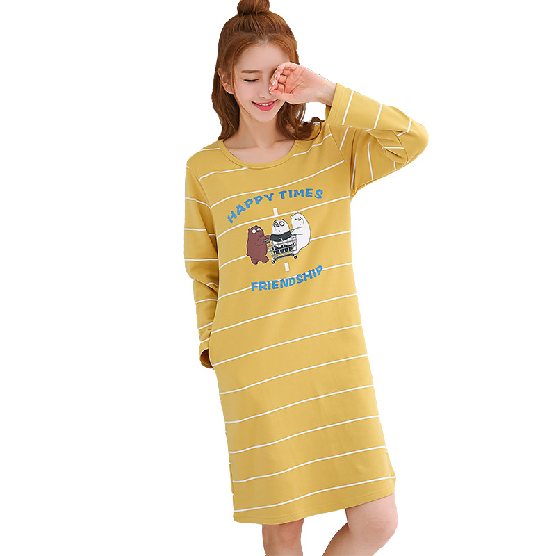 Cotton   Nightgowns     Sleepshirts   for women 2018 srping Homewear stripe Sleepwear Loose Nightdress Indoor cute lingerie plus size