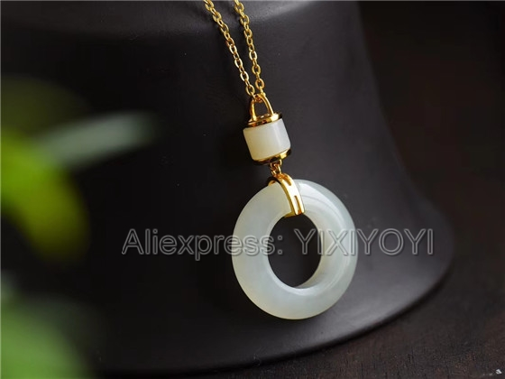 925 Sterling Silver White HeTian Jade Round Buckle Hollow Style Lucky Pendant + Chain Necklace Fine Jewelry Charm Gift