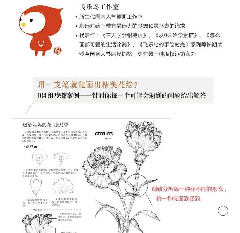 Lukisan Bunga Buku Mewarnai Baris Sketsa Menggambar Buku Kuno Cina