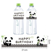 Omilut 12pcs Panda Party Mineral Water Bottle Label Baby Shower Boy/Girl Birthday Supplies Stickers Decor