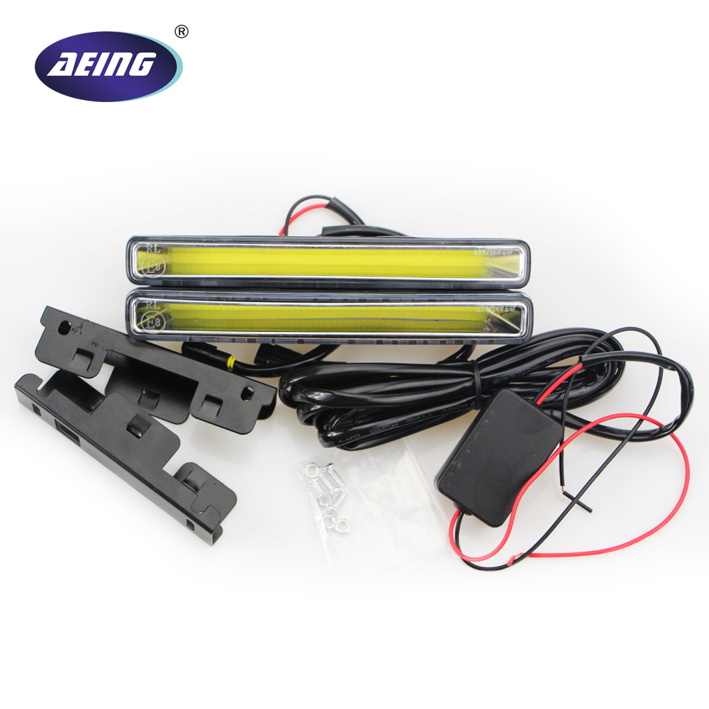 2PCS New car stying COB LED DRL High Power LED Driving Daytime Running Lights LED fog light xenon white/ice blue flexible bandable straight line cob drl daytime running lights dc12v 16w high power white e4 waterproof car fog lights