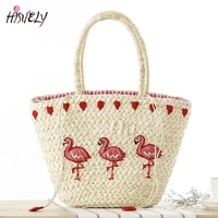 2017 New Fashion Embroidery Women S Hand Bag Large Straw Shoulder Bag Fashion Flamingo Beach Bags