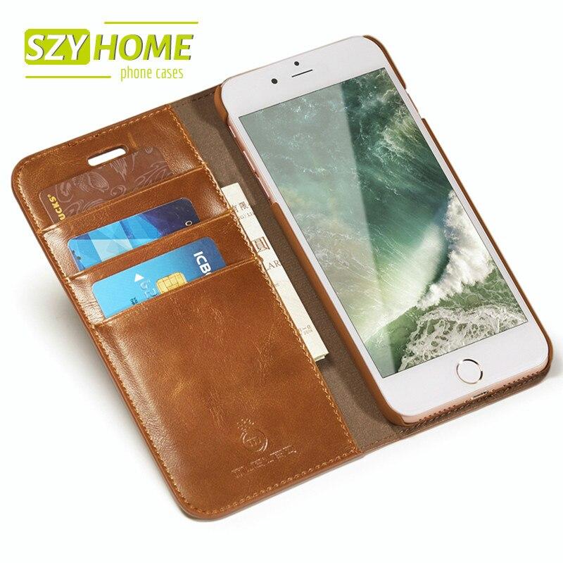 Цена за Szyhome телефон чехлы для iPhone 5 5S SE 6 6S 7 Plus люкс Ретро кожаный бумажник Флип держатель для Iphone 7 Чехол Капа Coque