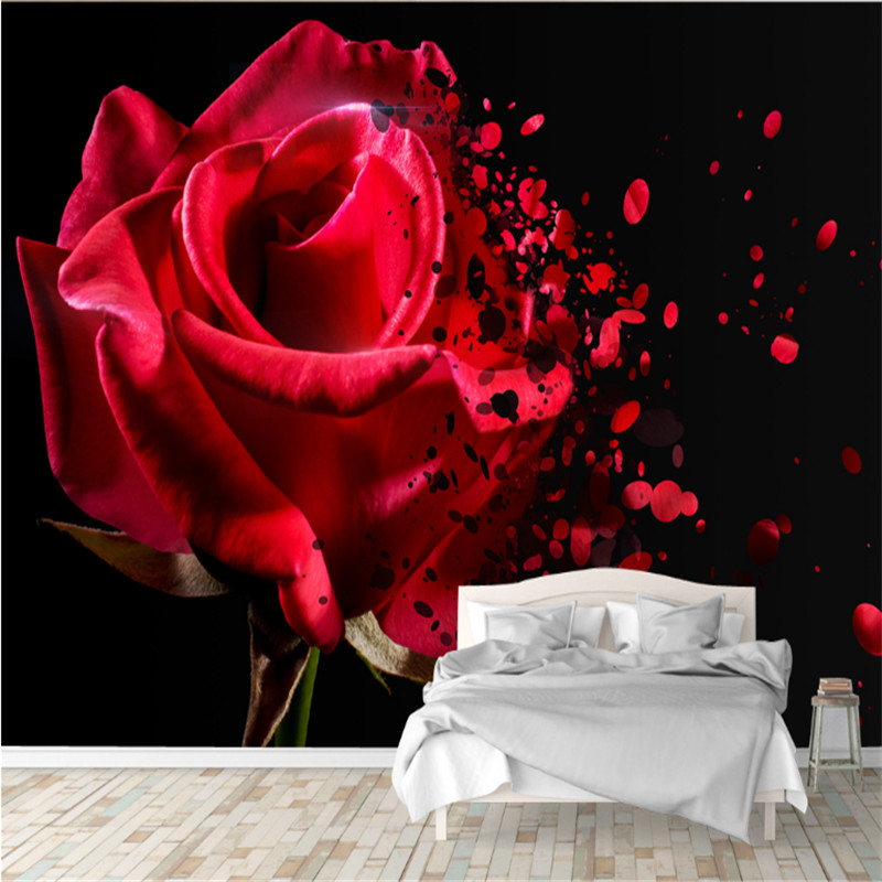 large custom murals wallpaper 3D modern photo romantic red rose living room bedroom TV background wall paper home decoration custom 3d photo wallpaper murals hd cartoon mushroom room children s bedroom background wall decoration painting wall paper