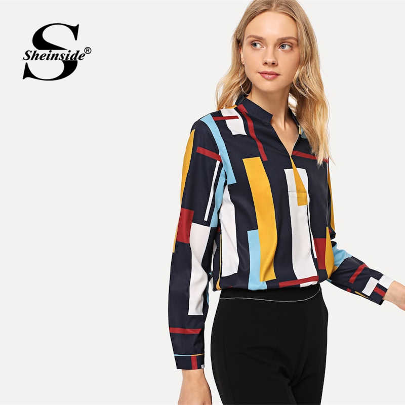 cc41136acf ... Sheinside Fashion V Neck Geometric Print Colorblock shirt Women 2019  Spring Casual Blouses OL Lady Workwear ...
