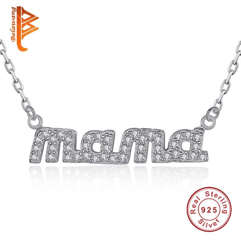 9497b0b4738a Amour bijoux de haute qualité 925 sterling argent maman pendentif rempli  écrire clair CZ colliers pour femmes mère de jour meilleur cadeau