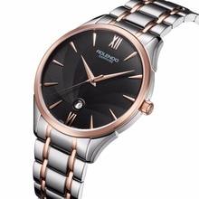 Rolendo 2018 Couple Business Watches Quartz men Watch Steel Case Brown Leather Watchband Wristwatch Relogio Masculino