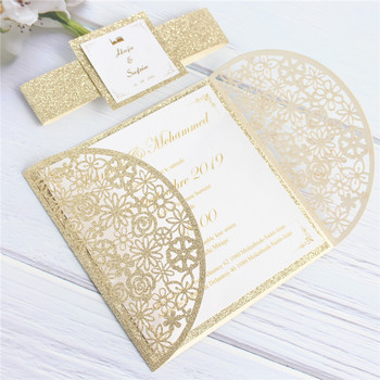 Luxury invitation cards wedding christening with glitter belly band gold insert card offer customized printing 50pcs