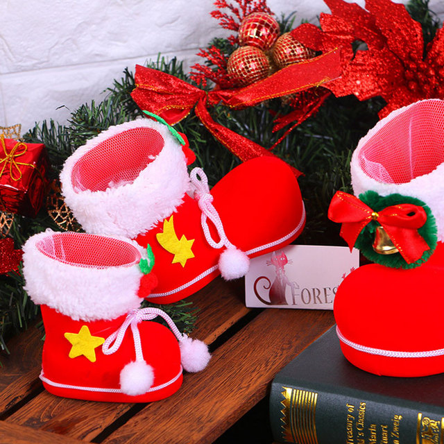 1pcs cute christmas candy boots gift bags christmas dinner table decoration home party santa claus decor