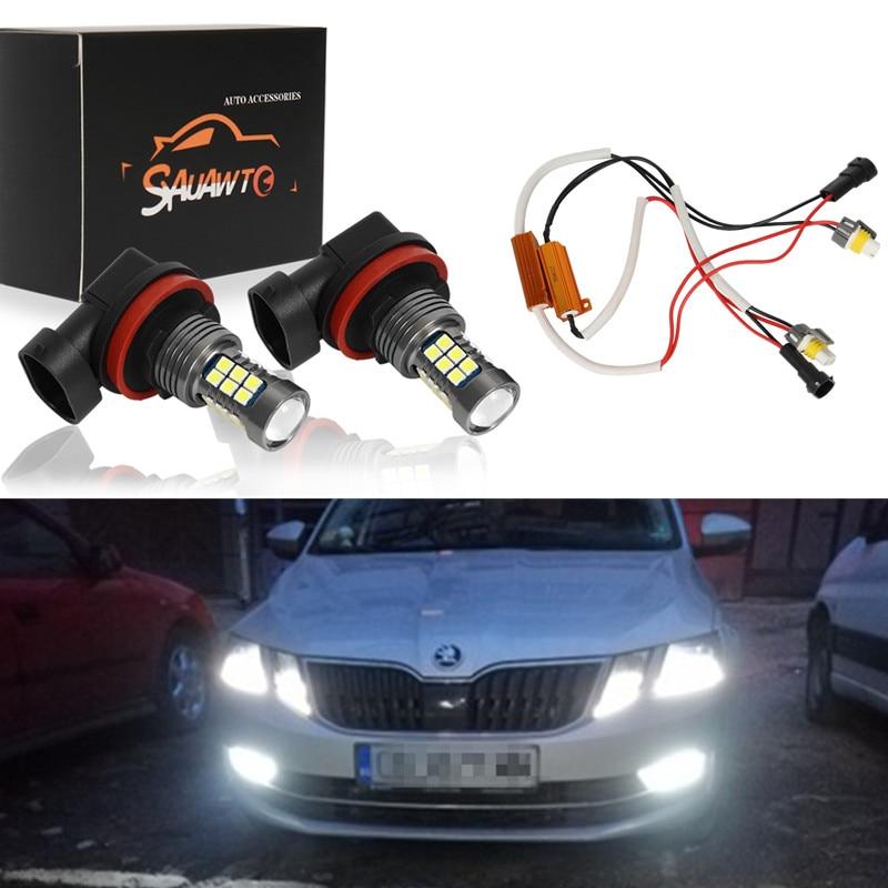 2X H8 LED Fog Light Bulb Auto Car Driving Drl Lamp LED Bulbs No Error Canbus