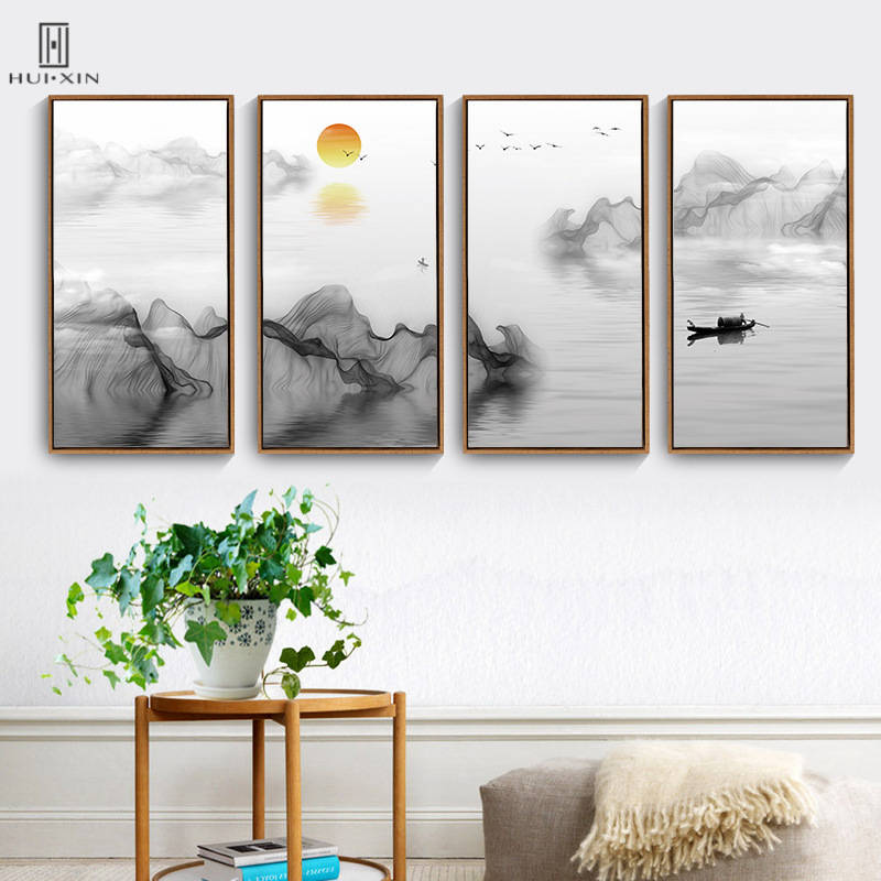 Traditional Chinese Style Mountain&River Paintings Squint Unframed HD Wall Print Posters For Home Living Room Decoration