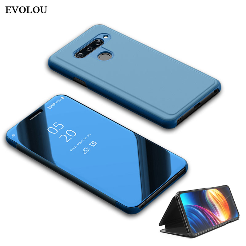 View Mirror Clear Smart Flip Case For LG G8 Thinq V30 V40 Leather Phone Case For LG V40 Thinq V30 Plus Stand Phone Bag