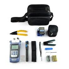 10 pçs kit de ferramentas fibra óptica ftth com FC 6S fibra cleaver e medidor de potência óptica 1mw localizador visual falha fio stripper CFS 2