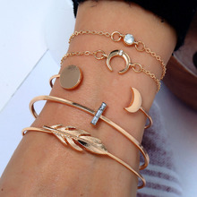 HOCOLE 5Pcs/Set Crystal Gold Metal Bracelet Sets Female Bohemian Charm Chain Bracelets For Women Fashion Bangles Jewelry Party
