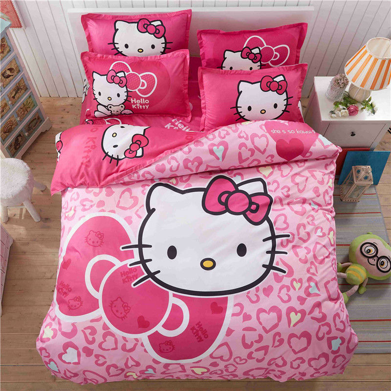 4pcs Hello Kitty Cartoon Bedding Set Kids with Duvet Cover Bed Sheet set of Bed Linen Bedsheet Bedspread Sheets Queen Twin Size ...