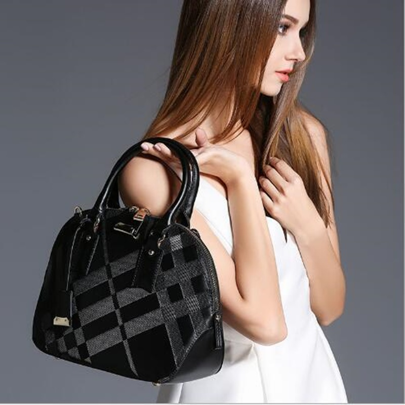 ФОТО Genuine Leather Shell Handbag Famous Brand Women Designer Luxury Plaid Print Shoulder Bag Women Messenger Bags Sac a Main Femme