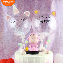 Unicorn Cake Topper Happy Birthday Party Supplies Cat Decorations Kids Favors Transparent Balloon Cupcake