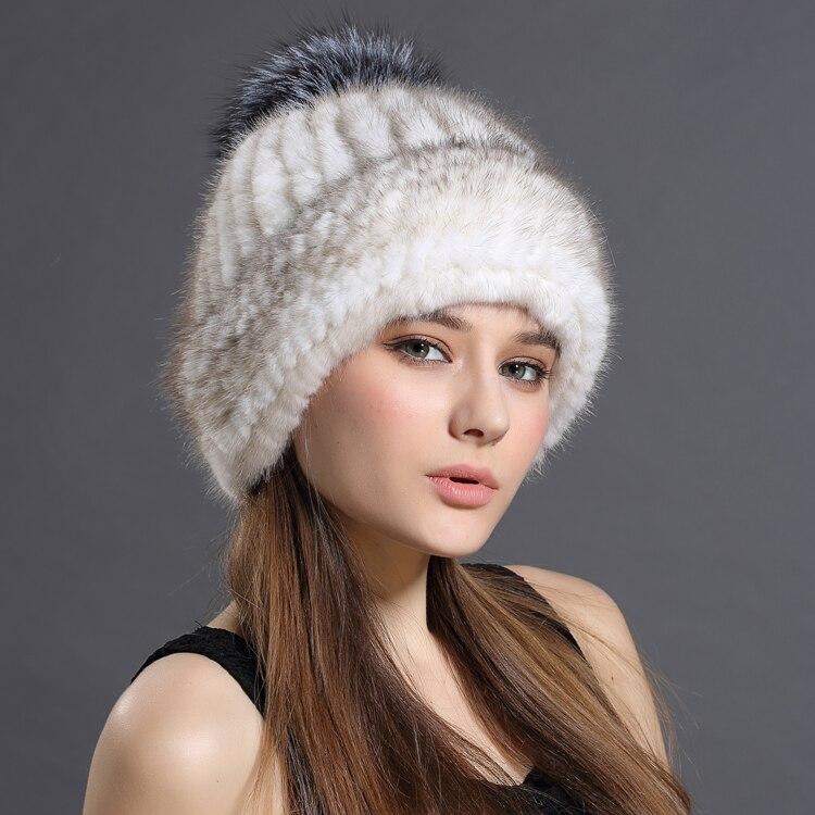 2017 Di Nuovo Modo di Visone Cappello di Pelliccia Della Signora di Spessore Caldo Inverno Erba Tessuto Cappello Cappello di Visone Orecchio Volpe Palla